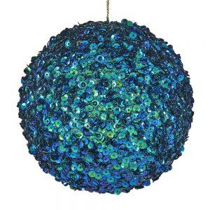 Kerstbal Blauw Groen Glitter
