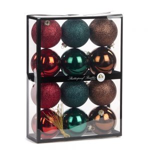 Kerstballen mix box 12 stuks