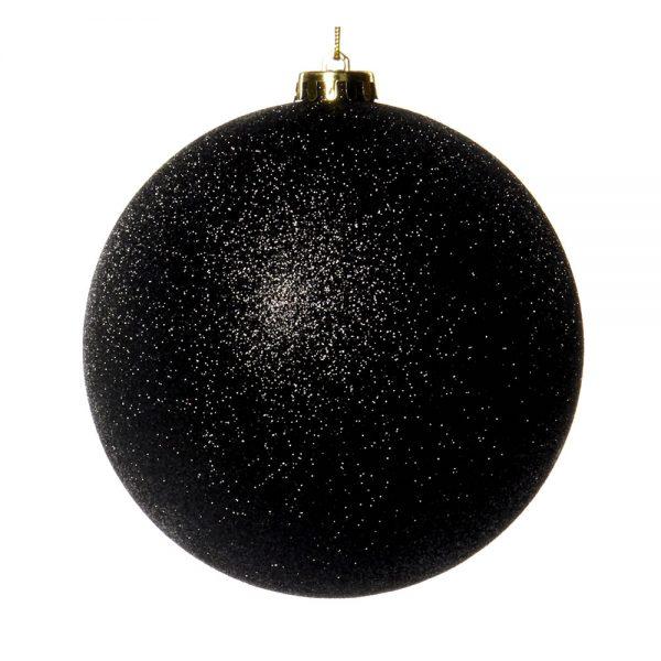 Kerstbal zwart glitter