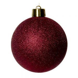 Kerstbal Bordeaux Rood Glitter